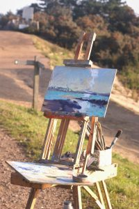 Jane Hodgson easel and painting at Paint Out Wells 2015. Photo by Katy Jon Went