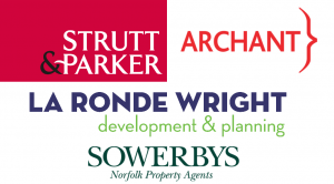 Sponsors of Paint Out Norwich 2016 - Strutt & Parker, La Ronde Wright, Sowerbys, Archant