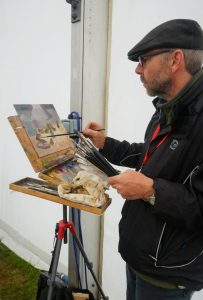 Artist Paul Alcock painting Royal Norfolk Show 2017 photo by KJ Went