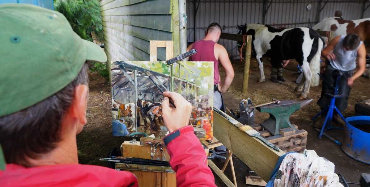 Robert Nelmes painting Blacksmiths at RNS17