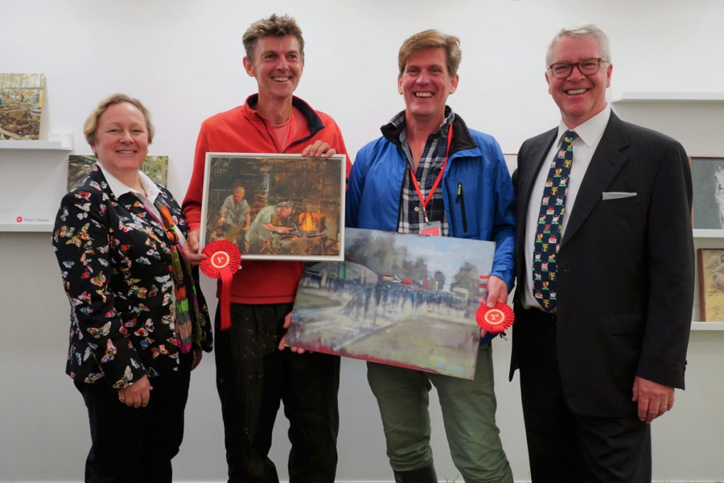First Prize Robert Nelmes, Second Prize Tom Cringle at Paint Out Royal Norfolk Show 2017. Photo by Katy Jon Went