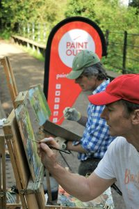 Artists Robert Nelmes & James Colman painting from old railway in Sudbury, Suffolk. Photo © Katy Jon Went