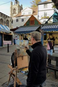 Artist Rob Pointon painting the Market, Paint Out Norwich 2018. Photo © Katy Jon Went