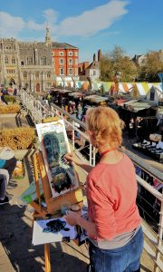 Artist Susan Isaac painting Norwich Market, Paint Out Norwich 2018. Photo © Katy Jon Went