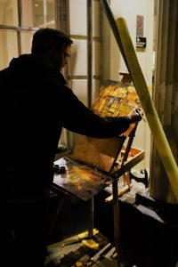 Artist Rob Pointon painting Tombland at night, Paint Out Norwich 2018. Photo © Katy Jon Went