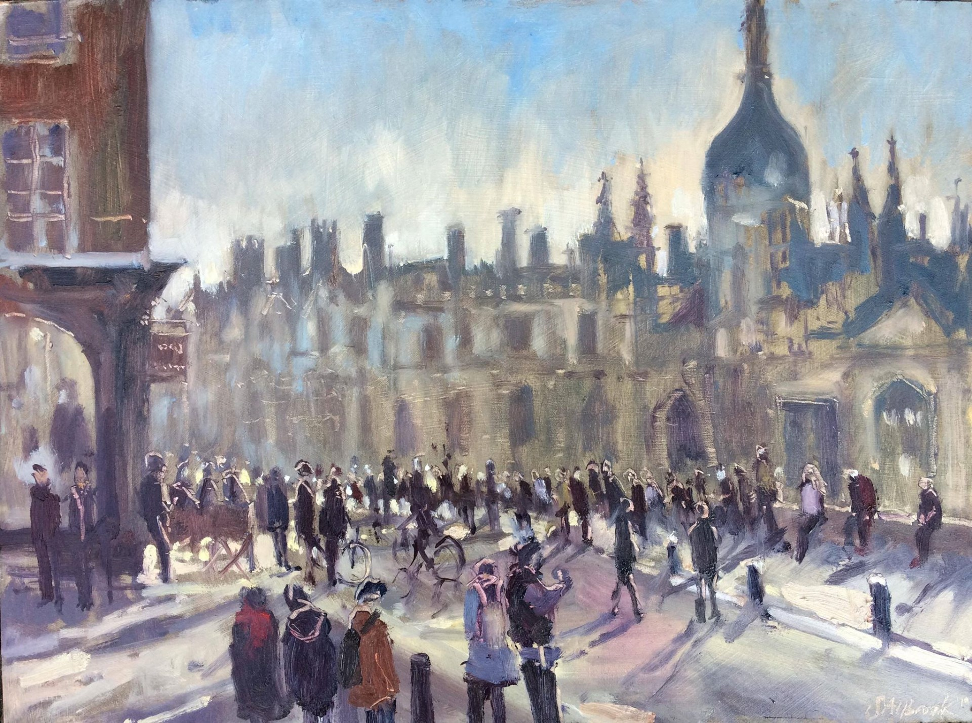 Artist Sarah Allbrook, February sunshine on King's Parade