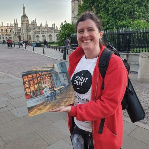 Artist Hannah Bruce on King's Parade with her painting of Smokeworks, Paint Out Cambridge 2019. Photo © Katy Jon Went