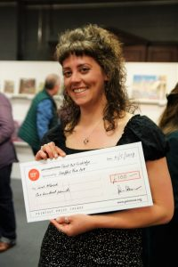 Artist Sarah Allbrook winning a judge's commendation at Paint Out Cambridge 2019