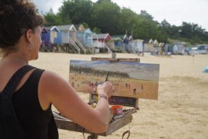 Artist Sarah Allbrook at Paint Out Norfolk, Wells Beach