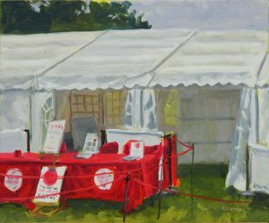 Artist Kate Gabriel, Paint Out Hub Red Ropes, Whitlingham, Oil, 10x12in, £275. Paint Out Norfolk 2020