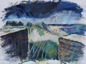Artist Susan Isaac, Against the Waves (Winterton), Winterton-on-Sea, Oil, 50x65cm, £650. Paint Out Norfolk 2020
