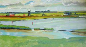 Artist Amanda Barrett, Berney Arms Windmill and Breydon Water, Burgh Castle, Oil, 23x45cm, £250. Paint Out Norfolk 2020