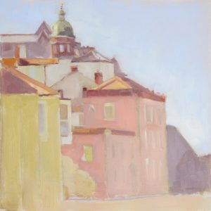 Artist Naomi Clements Wright, Pink Promenade, Cromer, Oil, 12x12in, £520. Paint Out Norfolk 2020