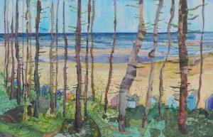 Artist Alfie Carpenter, Summer through the Trees, Wells-next-the-Sea, Mixed Media, 27x42cm, £425. Paint Out Norfolk 2020