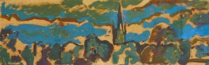 Artist Jack Godfrey, Rhythm in Blue, Norwich Cathedral, Oil, 6x17in, £230. Paint Out Norfolk 2020
