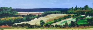 Artist Mary Blue Brady, Cultivating the Edge, Wiveton Down, Acrylic, 8x32in, £295. Paint Out Norfolk 2020