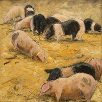 Artist Brian Korteling, 'Before the Race', Norfolk Showground, Oil, 30x30cm, £350