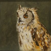 Artist Brian Korteling, 'Owl', Norfolk Showground, Oil, 30x30cm, Photo by KJW