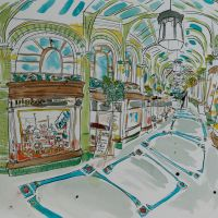 Artist Eloise O'Hare - Chocolate Arcade 18x26.5 Pen, Ink & Watercolour on Paper at Paint Out Norwich 2015 photo by Mark Ivan Benfield 6290