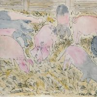 Artist Eloise O'Hare, 'Piggies 1', Norfolk Showground, Mixed Media, 16x24in, £350