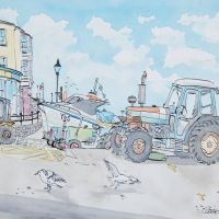 Artist Eloise O'Hare, 'Tractor Tide Line', Mixed Media on paper, 55x38cm, £350