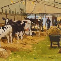 Artist Haidee-Jo Summers, 'Cow Tent', Norfolk Showground, Oil, 11x14in, £750