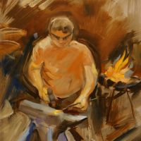 Artist Jerome Hunt, 'Jason the Blacksmith', Norfolk Showground, Oil, 10x12in, £200