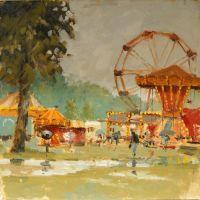 Artist Mo Teeuw, 'Not So Much Fun at the Fair', Norfolk Showground, Oil, 10x10in, £290