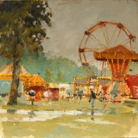 Artist Mo Teeuw, 'Not So Much Fun at the Fair', Norfolk Showground, Oil, 10x10in, £290