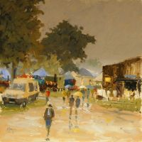 Artist Mo Teeuw, 'Pigs For Sale', Norfolk Showground, Oil, 10x10in, £290