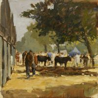 Artist Mo Teeuw, 'Waiting To Go in the Ring', Norfolk Showground, Oil, 10x10in, £290