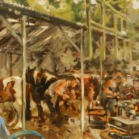 Artist Robert Nelmes, 'Farrier's Competition', Norfolk Showground, Oil, 30x40cm, £395