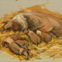 Artist Robert Nelmes, 'Rare Breed', Norfolk Showground, Oil, 30x40cm, £200