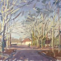 Artist Rod Major, Near Lympne Castle, Kent, Oil on board, £295