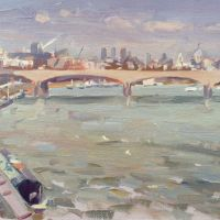 Artist Rod Major, View from Charing Cross Bridge, London, Oil on board, £295