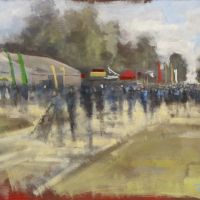 Artist Tom Cringle, 'View from Paint Out Tent 1', Norfolk Showground, Acrylic on board, 60x40cm, £250