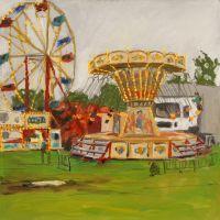 Artist Brian Korteling, 'Fairground', Norfolk Showground, Oil, 30x30cm, £380