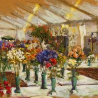 Artist John Patchett, 'Prize Blooms', Norfolk Showground, Pastel, 20x14in, £150