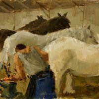 Artist Mo Teeuw, 'Hot Stuff', Norfolk Showground, Oil, 8x8in, Photo by KJW