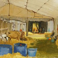 Artist: Mo Teeuw, Title: In the Cow Shed, Location: Norfolk Showground, Media: Oil, Size: 10x10in, £310