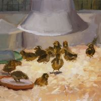 Artist Paul Alcock, 'Chicks', Norfolk Showground, Oil on board, 10x12in, £195