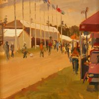 Artist Rod Major, 'Grand Stand Flags', Norfolk Showground, Oil on Board, 10x8in, £295