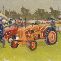 Artist: Rod Major, Title: Nuffield Tractor 1958, Location: Norfolk Showground, Media: Oil on Board, Size: 10x8in, £295