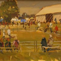 Artist Rod Major, 'Sheep Ring 2', Norfolk Showground, Oil on Board, 10x8in, £295