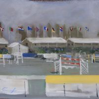 Artist Tom Cringle, 'Flagpoles', Norfolk Showground, Acrylic on board, 60x40cm, Photo by KJW