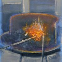 Artist Tom Cringle, 'Irons in the Fire', Norfolk Showground, Acrylic on board, 24x34cm, Photo by KJW