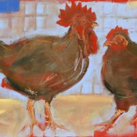 Artist Tom Cringle, 'Red Chickens', Norfolk Showground, Acrylic on board, 60x40cm, Photo by KJW