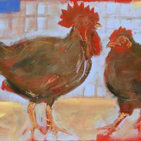 Artist Tom Cringle, 'Red Chickens', Norfolk Showground, Acrylic on board, 60x40cm, Photo by KJW
